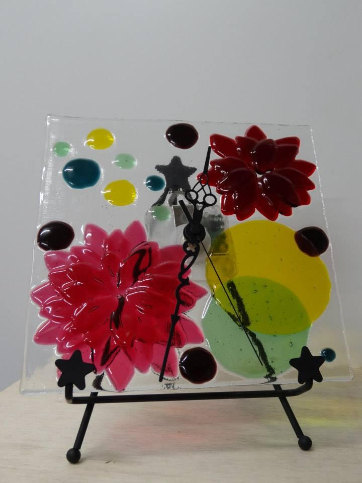 お花の時計(ピンク)